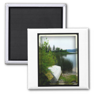 Boat by the Water 2 Inch Square Magnet