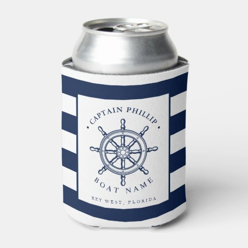 Boat Captain Custom Name Can Cooler