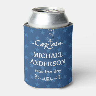Boat Captain Nautical Anchor Custom Name | Blue Can Cooler