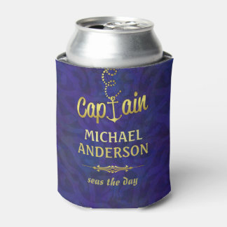 Boat Captain Nautical Anchor Gold | Custom Name Can Cooler