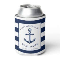 Boat Captain's Anchor Custom Name Can Cooler