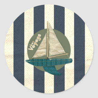 boat classic round sticker