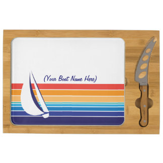 Boat Color Square_horizontal hues_personalized Cheese Board