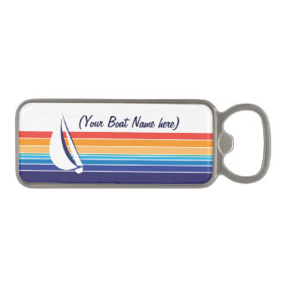 Boat Color Square_horizontal hues_personalized Magnetic Bottle Opener