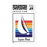 Boat Color Square_Laguna Beach postage