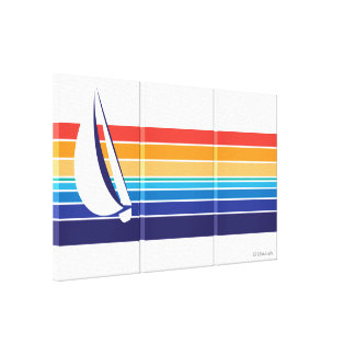 Boat Color Square_rainbow hues triptych Canvas Print