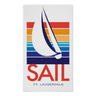 Boat Color Square_SAIL Ft. Lauderdale poster