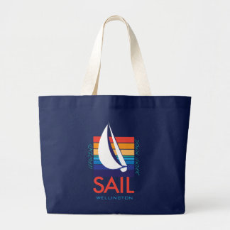 Boat Color Square_SAIL_UpWind DownUnder Wellington Large Tote Bag