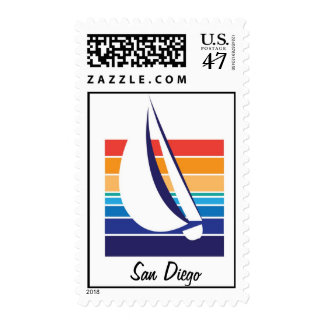 Boat Color Square_San Diego postage