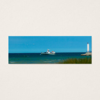 Boat cruising near Cheboygan Crib Light Mini Business Card