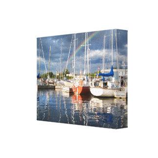 Boat Dock at Marina Photograph Canvas Print