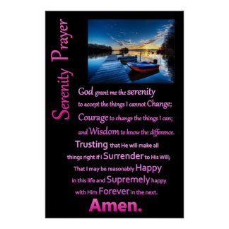 Boat Dock The Serenity Prayer Poster
