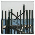 Boat Docks at Dusk Square Wall Clock