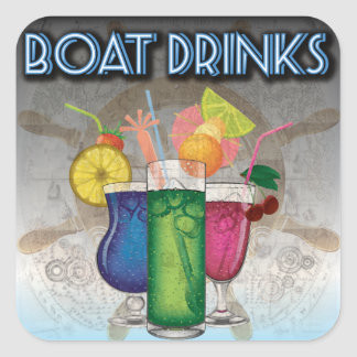 Boat Drinks Square Sticker