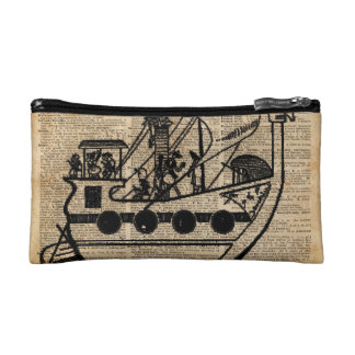Boat Expedition,Vintage  Ink Dictionary Art Cosmetic Bag