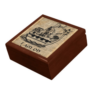 Boat Expedition,Vintage  Ink Dictionary Art Gift Box