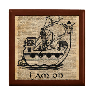 Boat Expedition,Vintage  Ink Dictionary Art Jewelry Box