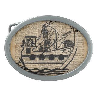 Boat Expedition,Vintage  Ink Dictionary Art Oval Belt Buckle