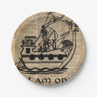 Boat Expedition,Vintage  Ink Dictionary Art Paper Plate
