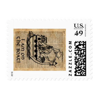 Boat Expedition,Vintage  Ink Dictionary Art Stamp