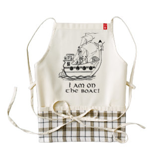 Boat Expedition,Vintage  Ink Dictionary Art Zazzle HEART Apron