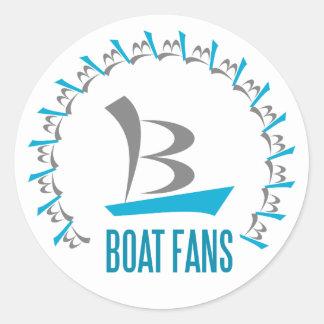 boat fans classic round sticker