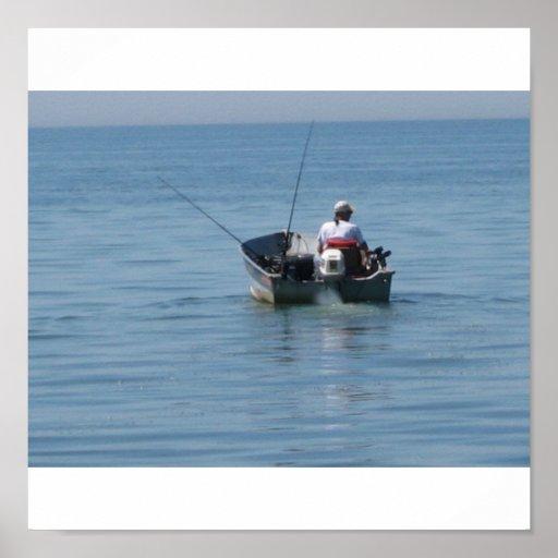 boat fishing print