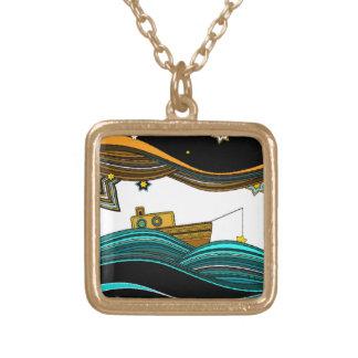 Boat fishing stars square pendant necklace
