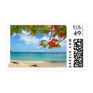 Boat Floats Offshore Holiday Stamp