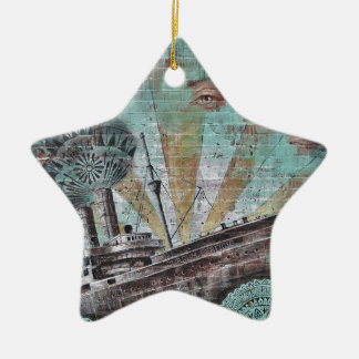 Boat Graffiti Double-Sided Star Ceramic Christmas Ornament