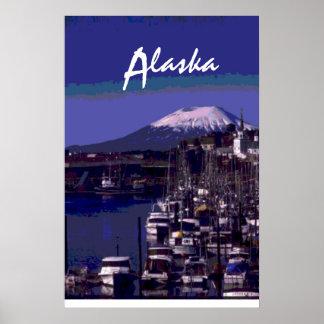 Boat harbor Alaska scenic poster