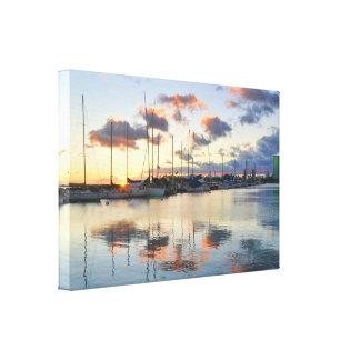 Boat Harbor at Sunset in Waikiki Canvas