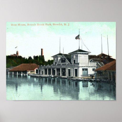 Boat House, Branch Brook Park, Newark 1912 Vintage Poster