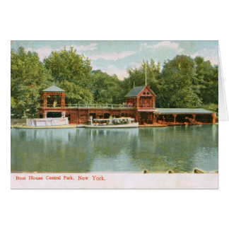 Boat House, Central Park, New York City 1918 Vinta Greeting Card