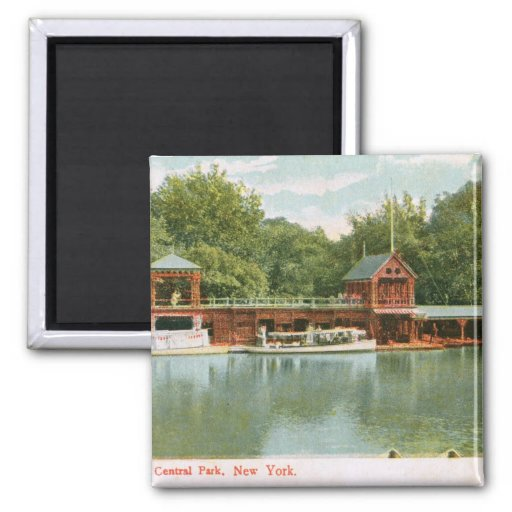 Boat House, Central Park, New York City 1918 Vinta 2 Inch Square Magnet