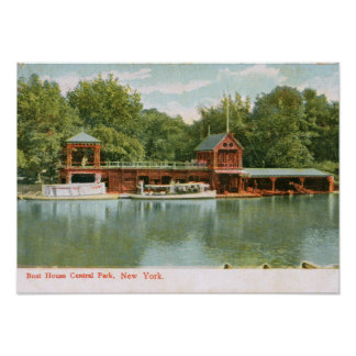 Boat House, Central Park, New York City 1918 Vinta Poster