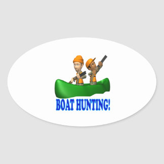 Boat Hunting Oval Sticker