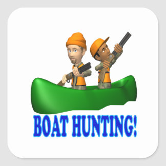 Boat Hunting Square Sticker
