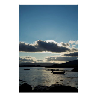 boat in a quiet bay at sunset poster