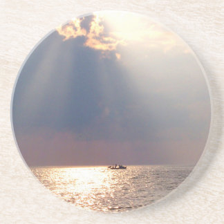 boat in florida sunrise over ocean drink coasters