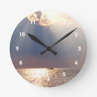 boat in florida sunrise over ocean round wallclock