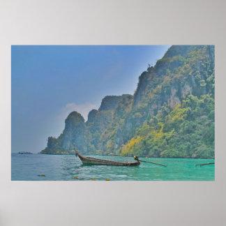 boat in Ko Phi Phi bay Poster