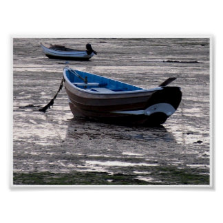 Boat in Lindisfarne harbour Poster