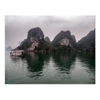 Boat in Misty Halong Bay Rock Islands, Vietnam Postcard