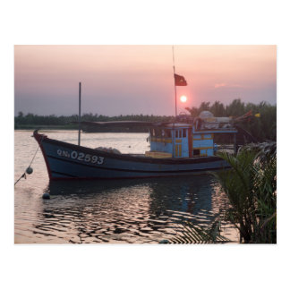 Boat in River at Sunset, Hoi An, Vietnam Postcard
