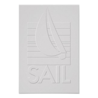 Boat in Square_embossed-style SAIL print print