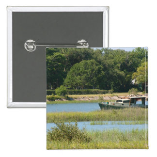Boat in st augustine inlet  in Florida Pinback Button