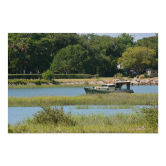 Boat in st augustine inlet  in Florida Posters