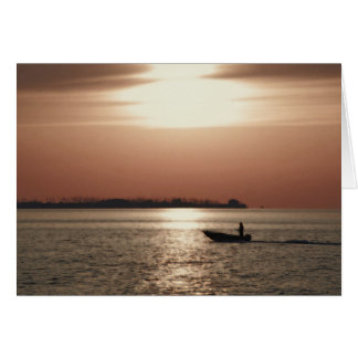 Boat in sunset card