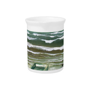 Boat in the Edge of the Sea Ocean Waves Art Pitcher